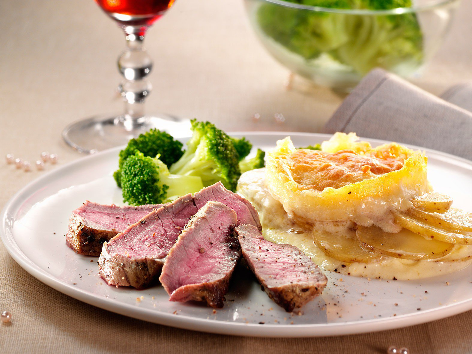 Chateaubriand met gratin dauphinois en broccoli