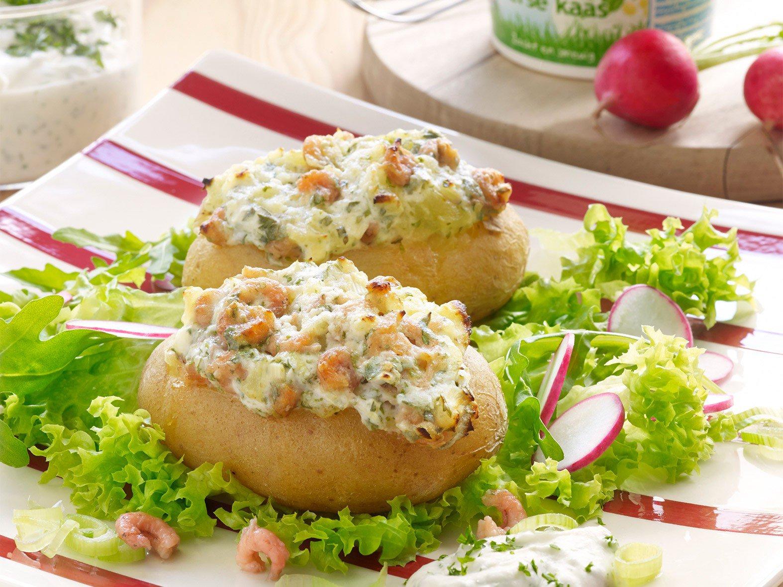 Gevulde aardappel met garnalen