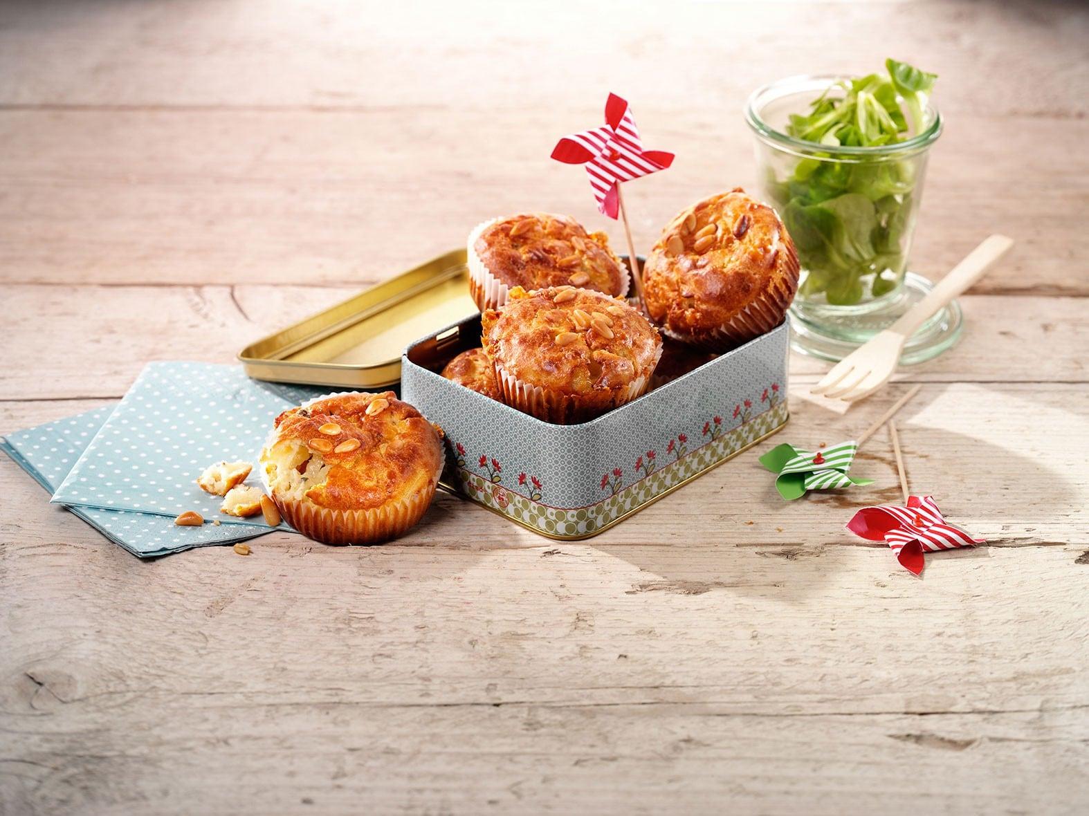 Cakejes met plattekaas, blauwe kaas en peer