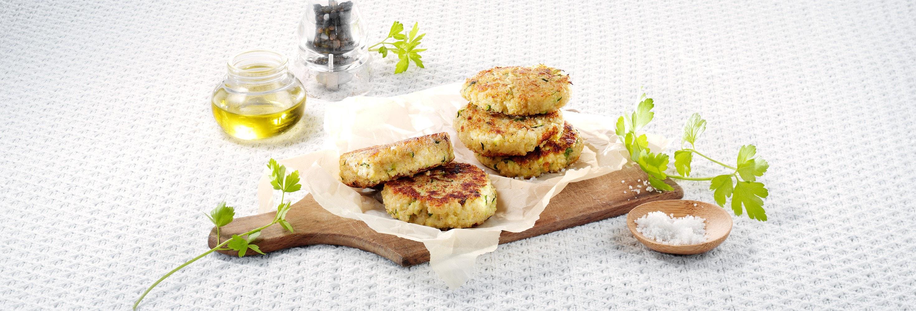 Quinoakoekjes met courgette en plattekaas